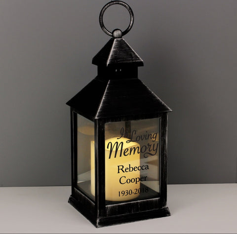 Personalised In Loving Memory Rustic Black Lantern  Memorial