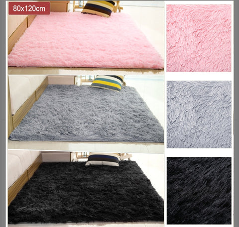 80x120cm Fluffy Rugs Anti-Skid Shaggy Area Rug Dining Room Carpet Floor Mat Home Bedroom - Pink  , Silver or Black