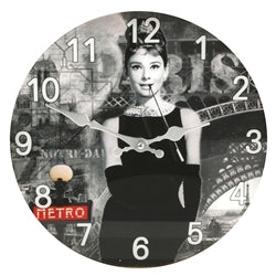 Audrey Hepburn Glass Wall Clock