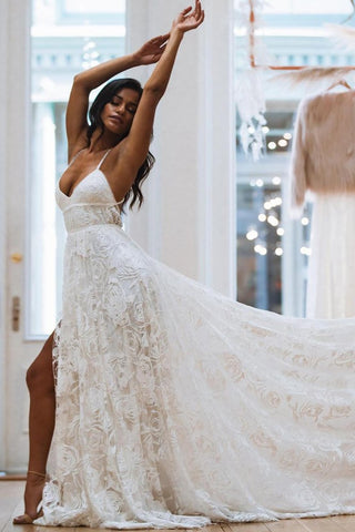 A Line Spaghetti Strap Lace Wedding Dress Gown
