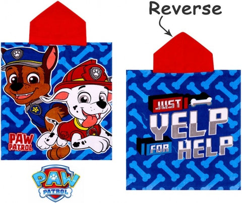 "Official PAW Patrol ""Yelp for Help"" Character Hooded Towel Poncho"