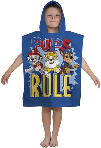 "Official PAW Patrol ""Pups Rule"" Character Hooded Towel Poncho"