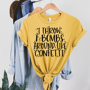 F-Bombs Like Confetti Shirt - Mustard
