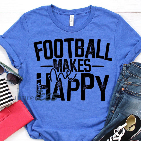 Football Makes Me Happy Black Print - Heather Royal