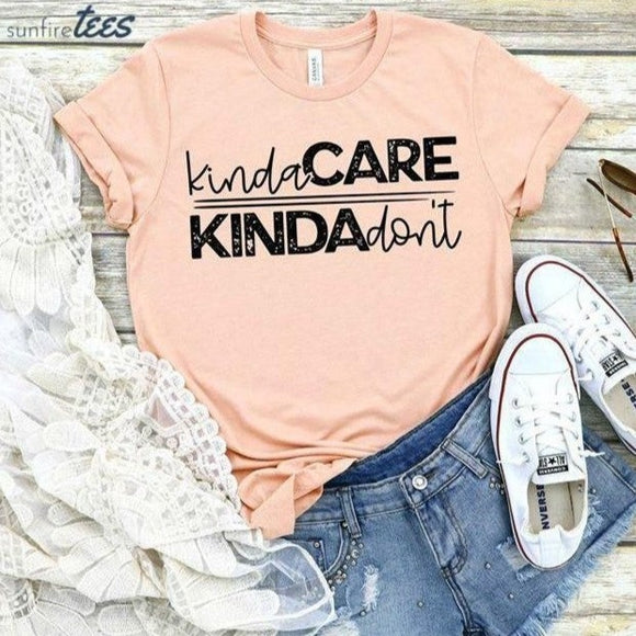 Kinda Care Kinda Don't Shirt - Peach