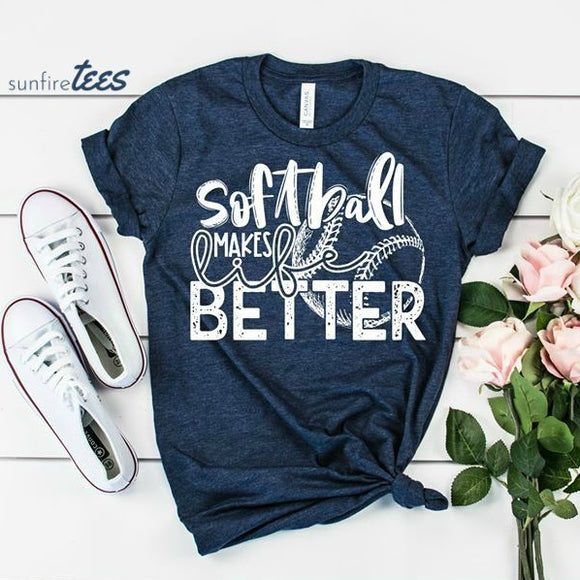 Softball Makes Life Better Shirt - Heather Navy