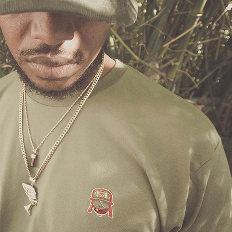 Military Green Raka Embroidered Tee