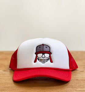 Red & White Raka Smiley Trucker Hat