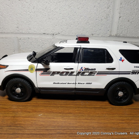 Custom 1/24th scale Killeen, Texas Police Ford Police Interceptor Utility diecast car with working lights