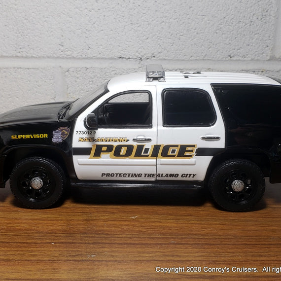 Custom 1/27th scale San Antonio, Texas Police Chevrolet Tahoe diecast car