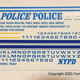 1/24th scale N-Y-P-D Emergency Service Decals
