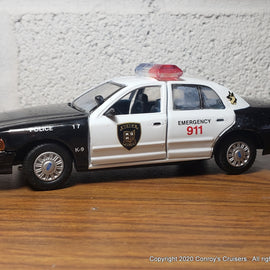 Custom 1/43rd scale Berea, Ohio Police Ford Crown Victoria (Gearbox car)