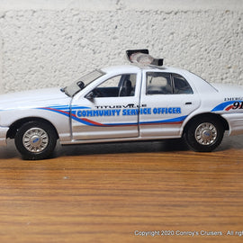Custom 1/43rd scale Titusville, Florida Community Service Officer Ford Crown Victoria (Gearbox car)