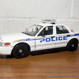 Custom 1/24th scale Austin, Texas Police Ford Crown Victoria Police Interceptor diecast car (old graphics on white car)