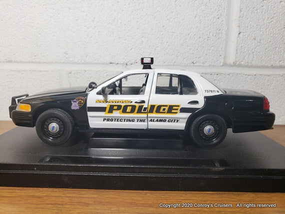 Custom 1/27th scale San Antonio, Texas Police Ford Crown Victoria Police Interceptor diecast car