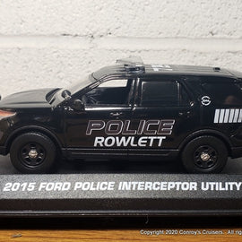 Custom 1/43rd scale Rowlett, Texas Police Ford Police Interceptor Utility diecast car