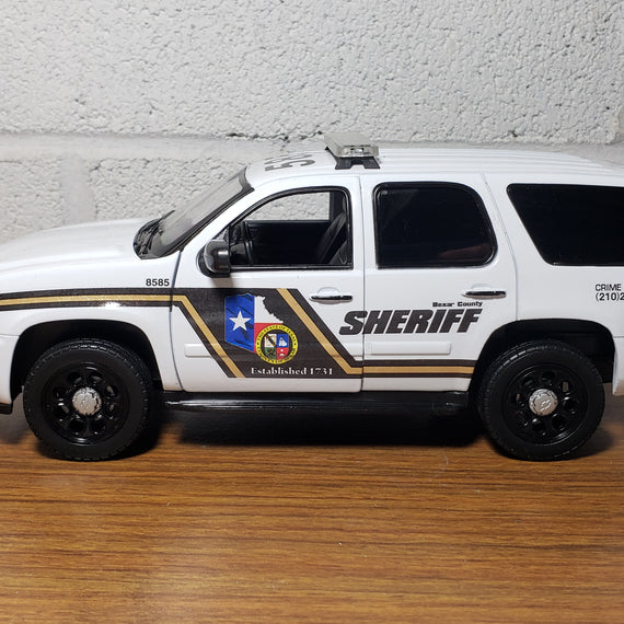 Custom 1/27th scale Bexar County, Texas Sheriff Chevrolet Tahoe diecast car