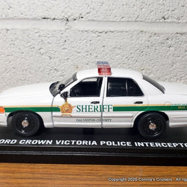 Custom 1/43rd scale Galveston County, Texas Sheriff Ford Crown Victoria Police Interceptor diecast car