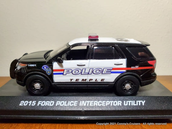 Custom 1/43rd scale Temple, Texas Police Ford Police Interceptor Utility diecast car