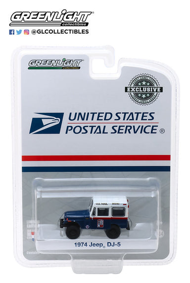 #30070 1/64th scale United States Postal Service 1974 Jeep DJ-5 (blue and white with Civil Defense slogan)