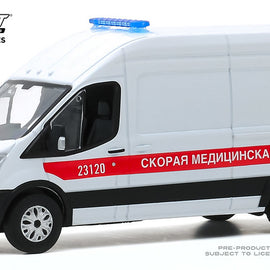 #86182 1/43rd scale St. Petersburg, Russia Fast Medical Aid 2019 Ford Transit LWB High Roof Ambulance