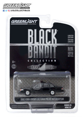 #28030-E 1/64th scale 1992 Ford Crown Victoria Police Interceptor Black Bandit