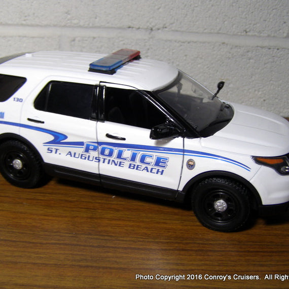 Custom 1/24th scale St. Augustine Beach, Florida Police Ford Police Interceptor Utility diecast car