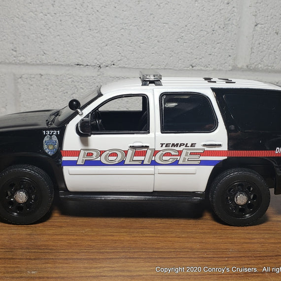 Custom 1/27th scale Temple, Texas Police Chevrolet Tahoe diecast model