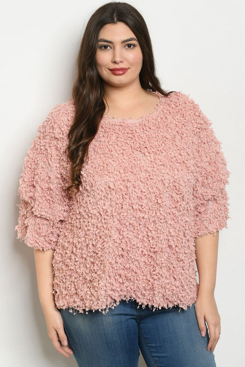 Plus Size Layered Blush Cozy Sweater Top