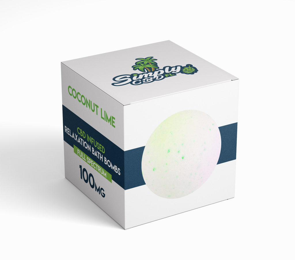 Simply CBD FL 100 MG Full Spectrum CBD Bath BOMB Coconut Lime