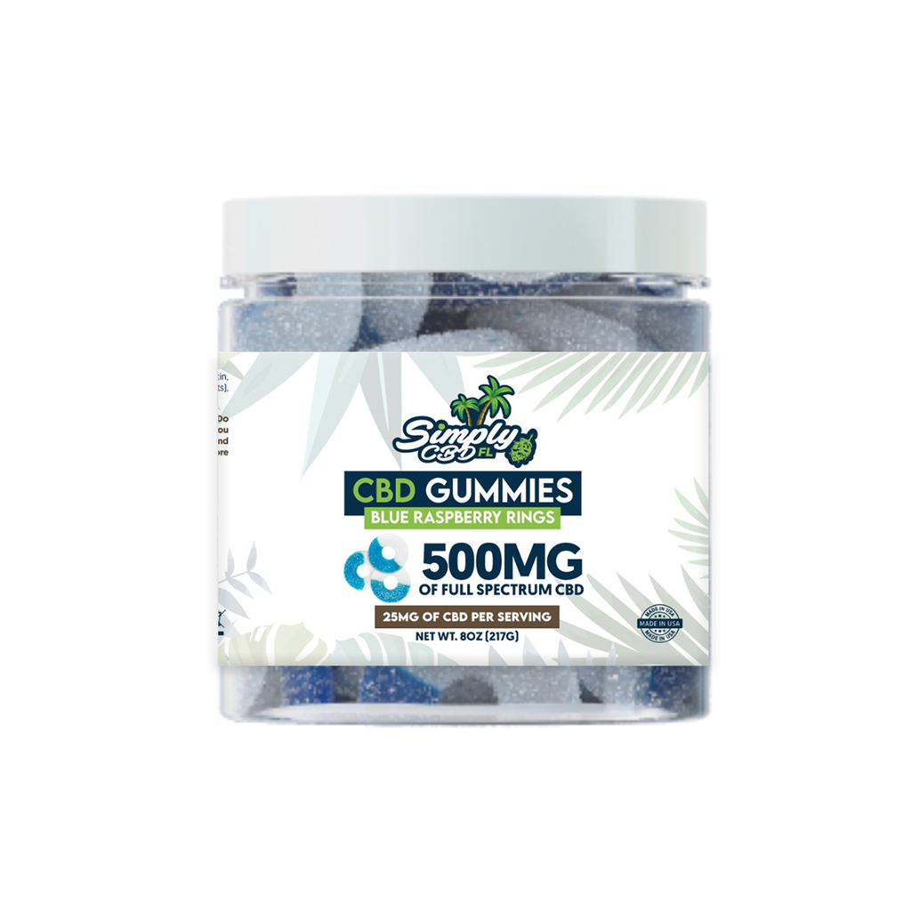 Simply CBD FL 500 MG Full Spectrum CBD Blue Raspberry Flavored Gummy Rings
