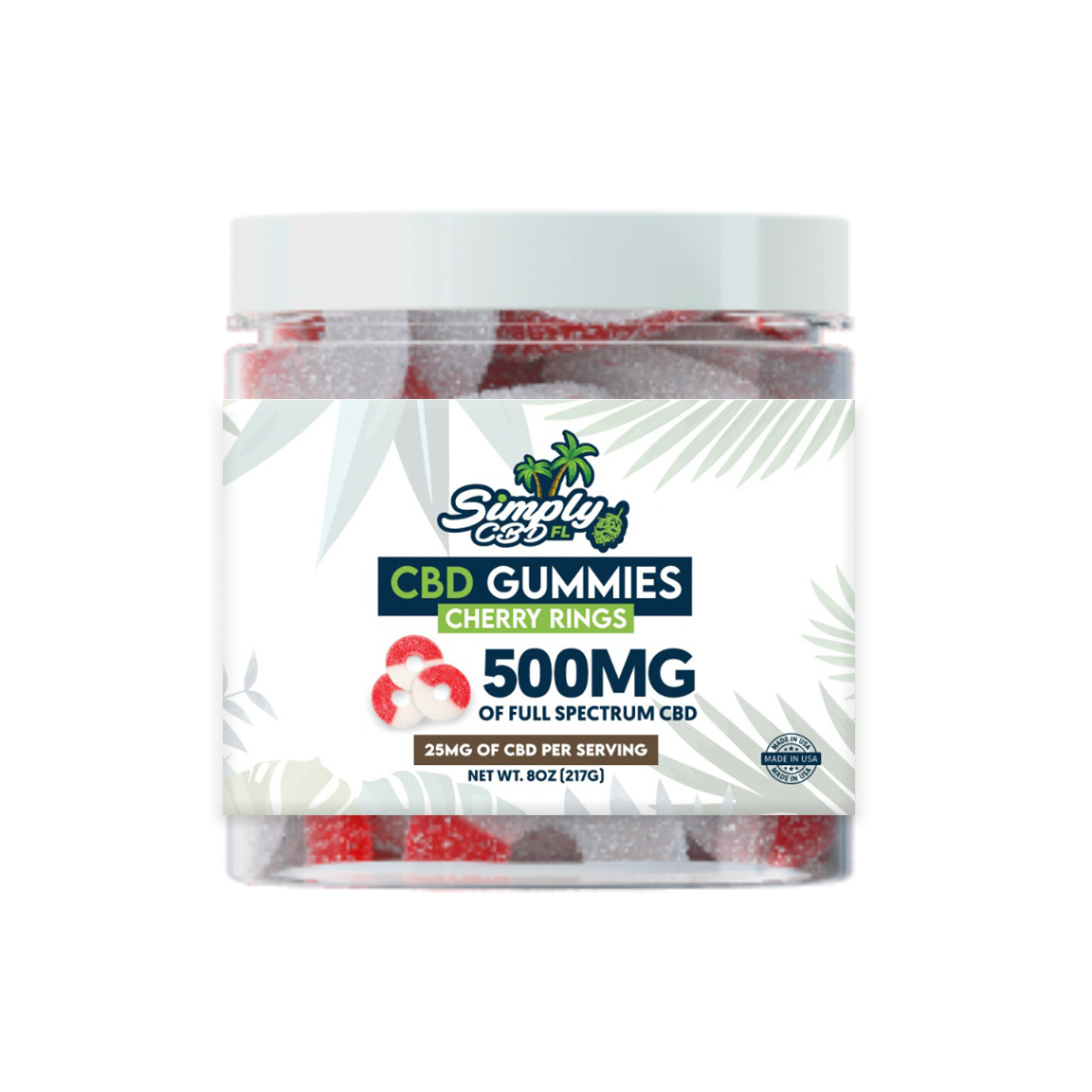 Simply CBD FL 500 MG Full Spectrum CBD Cherry Flavored Gummy Rings