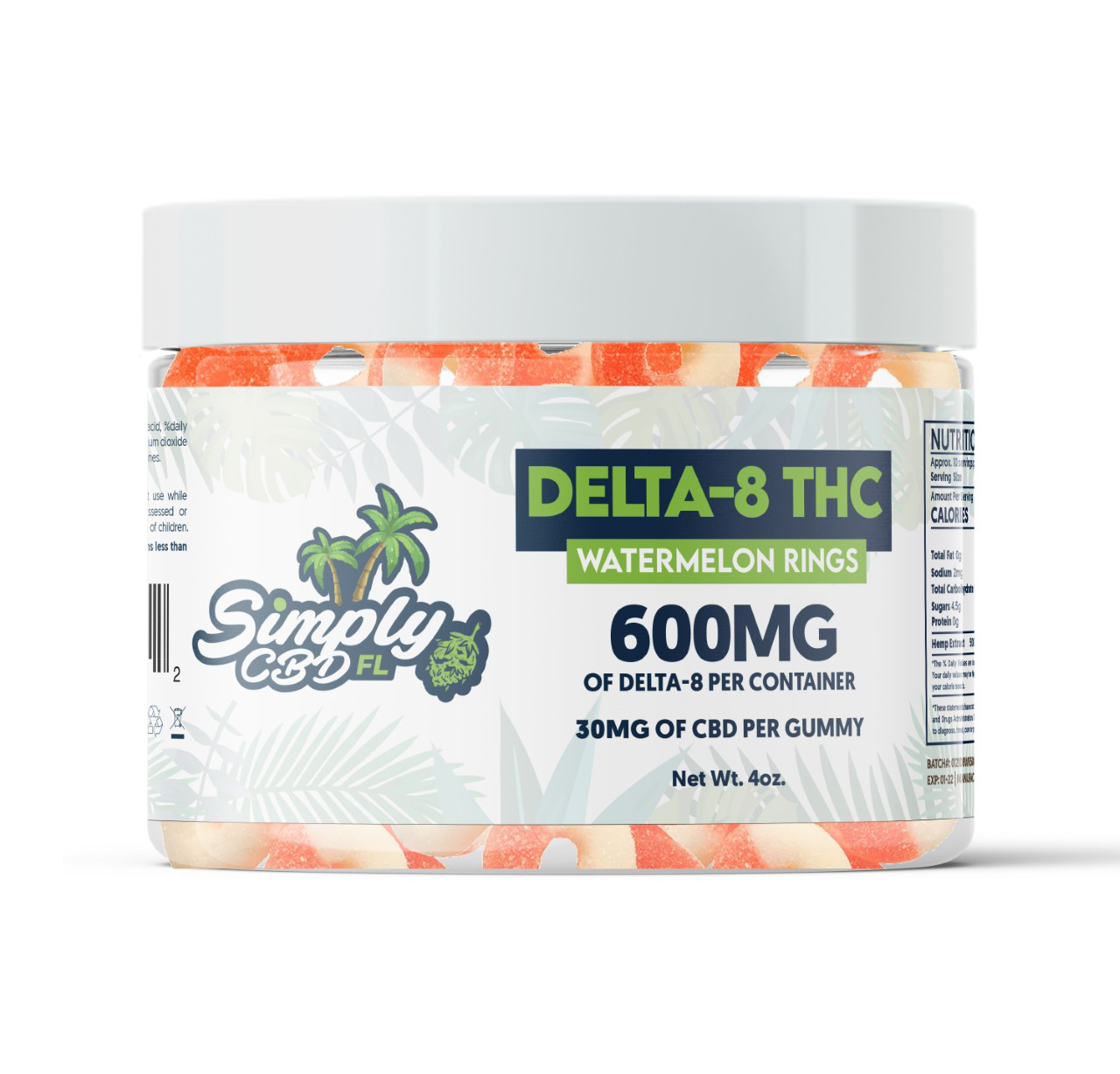 Simply CBD FL 600 MG Delta 8 THC Watermelon Flavored Gummy Rings