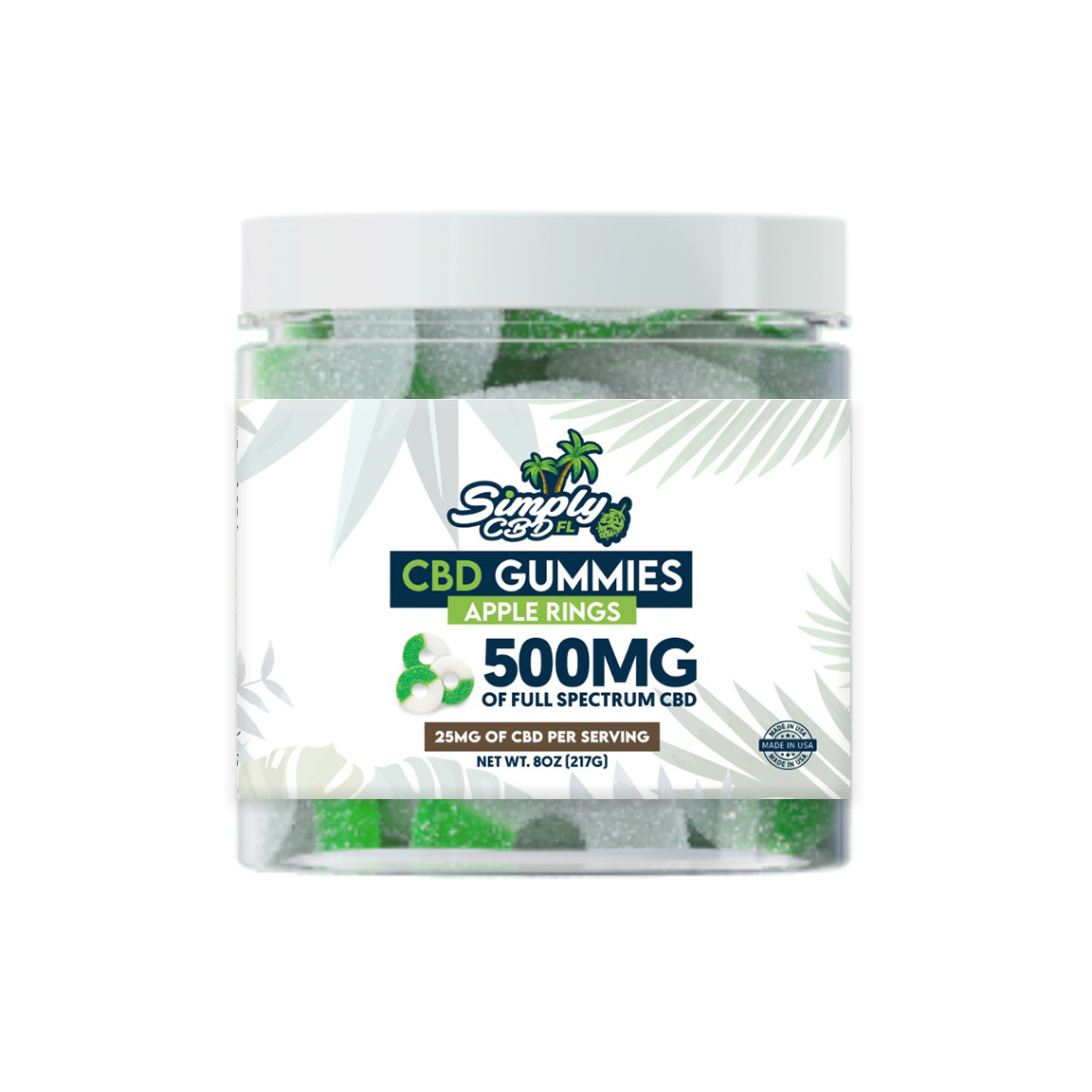 Simply CBD FL 500 MG Full Spectrum CBD Apple Flavored Gummy Rings
