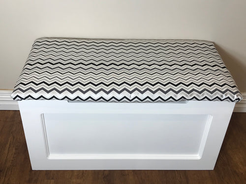 Silver Chevron Toy Box