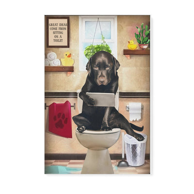 Basset hound great ideas come from sitting on a toilet -Matte Canvas - Dreameris