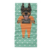 Mugshot prison clothes dog doberman - Neck Gaiter - Dreameris