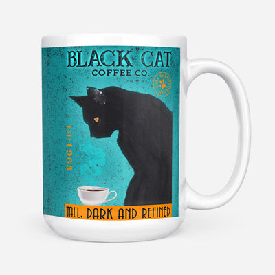 Black Cat Coffee Co. Tall Dark And Refined Mug 15oz Coffee Tea Cup - Dreameris