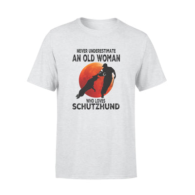 Never Underestimate An Old Woman Who Loves Schutzhund - Premium T-shirt - Dreameris