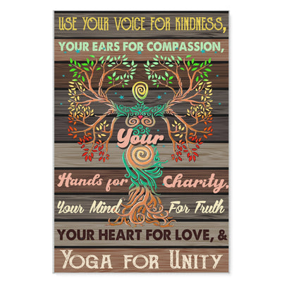 Use Your Voice For Kindness Yoga For Unity - Matte Canvas - Dreameris