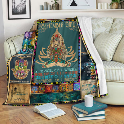 [Dreameris] September Girl The Soul Of Mermaid Yoga Namaste Fleece Blanket - Dreameris