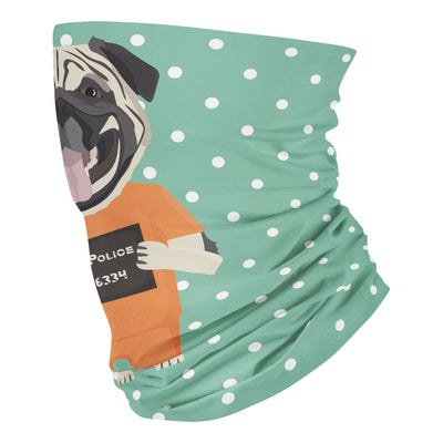 Mugshot prison clothes dog pug - Neck Gaiter - Dreameris