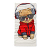Cute pomeranian toy dog dressed in red hoodie listen to music - Neck Gaiter - Dreameris