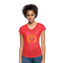 Load image into Gallery viewer, PaperboyFly Women's Tri-Blend V-Neck T-Shirt - heather red