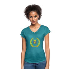 Load image into Gallery viewer, PaperboyFly Women's Tri-Blend V-Neck T-Shirt - heather turquoise