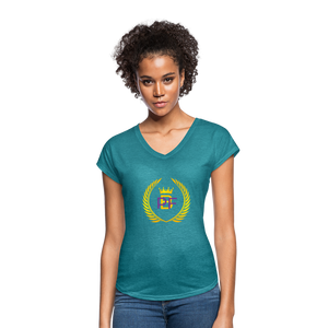 PaperboyFly Women's Tri-Blend V-Neck T-Shirt - heather turquoise