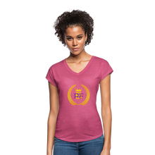 Load image into Gallery viewer, PaperboyFly Women's Tri-Blend V-Neck T-Shirt - heather raspberry