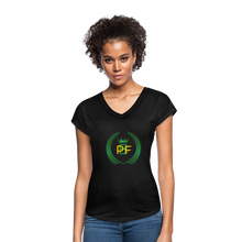 Load image into Gallery viewer, PaperboyFly Women's Tri-Blend V-Neck T-Shirt - black