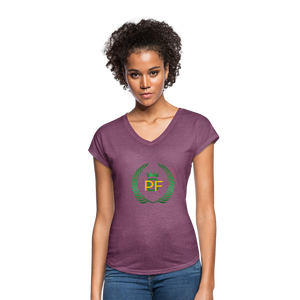 PaperboyFly Women's Tri-Blend V-Neck T-Shirt - heather plum