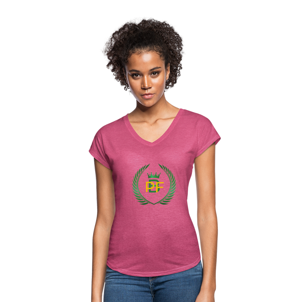 PaperboyFly Women's Tri-Blend V-Neck T-Shirt - heather raspberry